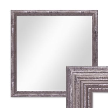 Wand-Spiegel ca. 46x46 cm im Massivholz-Rahmen Barock-Stil Antik Silber Quadratisch / Spiegelfläche 40x40 cm
