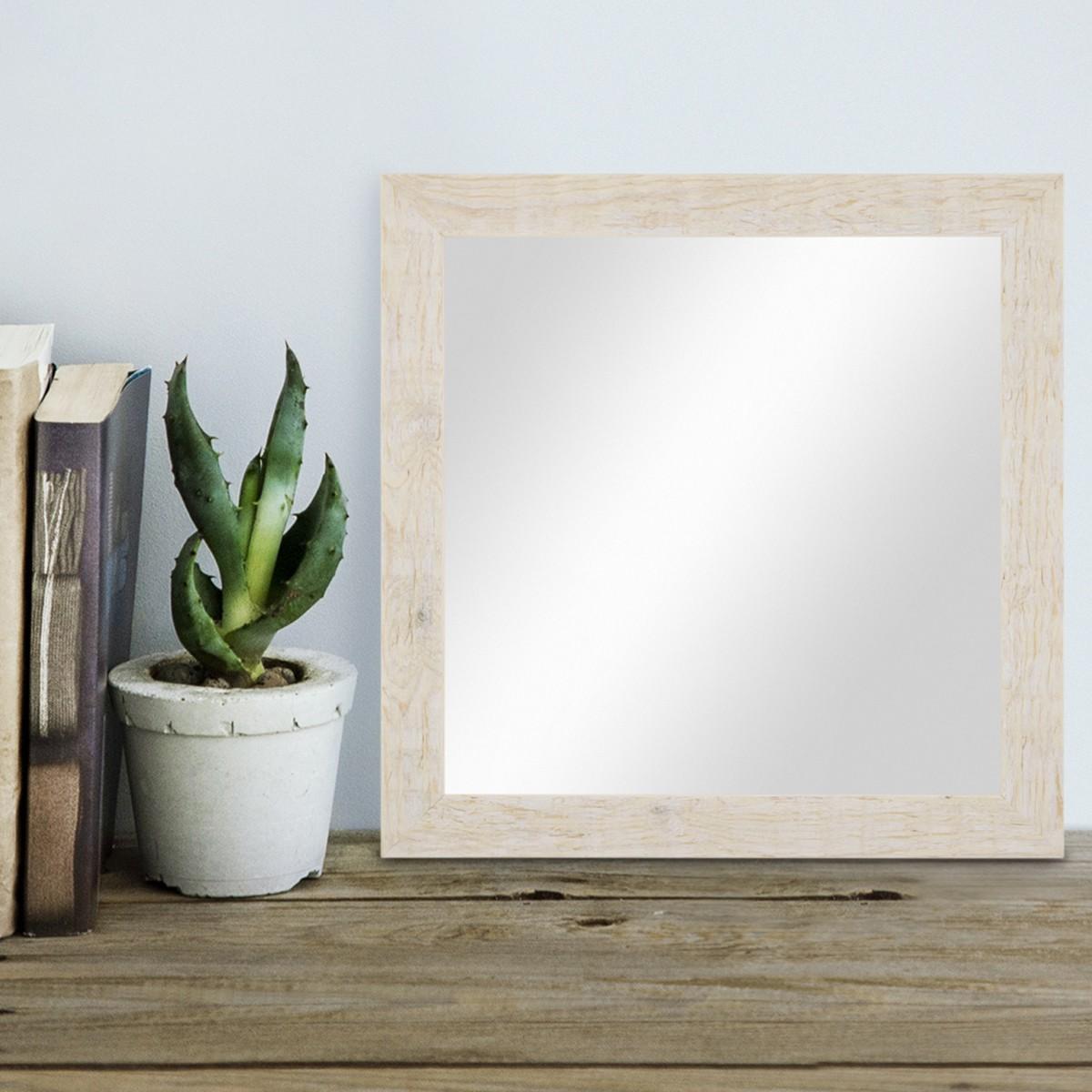 wand spiegel 36x36 cm im massivholz rahmen strandhaus stil rustikal weiss quadratisch. Black Bedroom Furniture Sets. Home Design Ideas