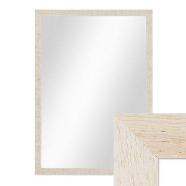 Wand-Spiegel 56x76 cm im Massivholz-Rahmen Strandhaus-Stil Rustikal Weiss / Spiegelfläche 50x70 cm