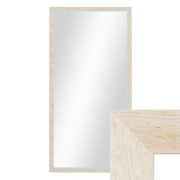 Wand-Spiegel 56x106 cm im Massivholz-Rahmen Strandhaus-Stil Rustikal Weiss / Spiegelfläche 50x100 cm