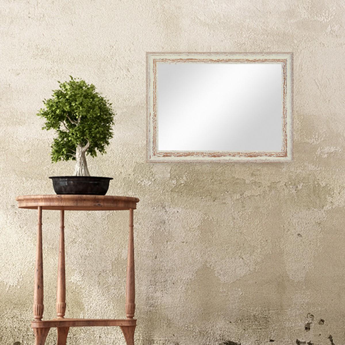 wand spiegel 36x46 cm im holzrahmen weiss shabby chic vintage spiegelfl che 30x40 cm spiegel. Black Bedroom Furniture Sets. Home Design Ideas