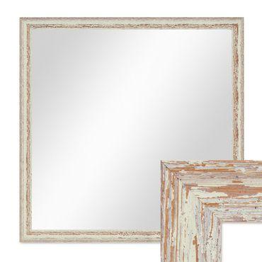Wand-Spiegel 66x66 cm im Holzrahmen Weiss Shabby-Chic Vintage Quadratisch / Spiegelfläche 60x60 cm