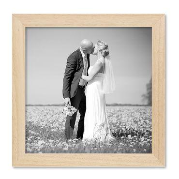 Bilderrahmen 20x20 cm Kiefer Natur Modern Massivholz-Rahmen mit Glasscheibe und Zubehör / Fotorahmen