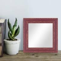 Wand-Spiegel 26x26 cm im Holzrahmen Rot-Braun Shabby-Chic Vintage Quadratisch / Spiegelfläche 20x20 cm – Bild 2
