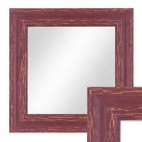 Wand-Spiegel 26x26 cm Rot-Braun Shabby-Chic Vintage Quadratisch / Spiegelfläche 20x20 cm