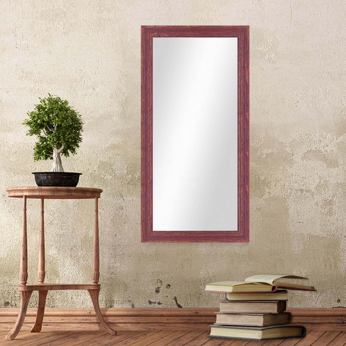 wand spiegel 36x66 cm im holzrahmen rot braun shabby chic vintage spiegelfl che 30x60 cm spiegel. Black Bedroom Furniture Sets. Home Design Ideas