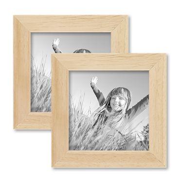2er Set Bilderrahmen 10x10 cm Kiefer Natur Modern Massivholz-Rahmen mit Glasscheibe und Zubehör / Fotorahmen