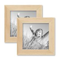 2er Set Bilderrahmen 10x10 cm Kiefer Natur Modern Massivholz-Rahmen mit Glasscheibe und Zubehör / Fotorahmen  – Bild 1