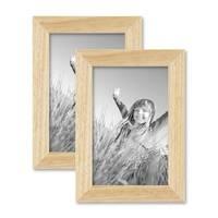 2er Set Bilderrahmen 10x15 cm Kiefer Natur Modern Massivholz-Rahmen mit Glasscheibe und Zubehör / Fotorahmen  – Bild 1