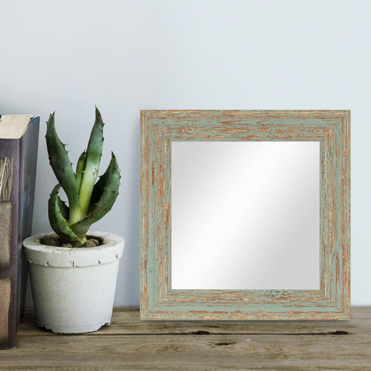 Wand-Spiegel 26x26 Cm Im Holzrahmen Grau-Grün Shabby-Chic