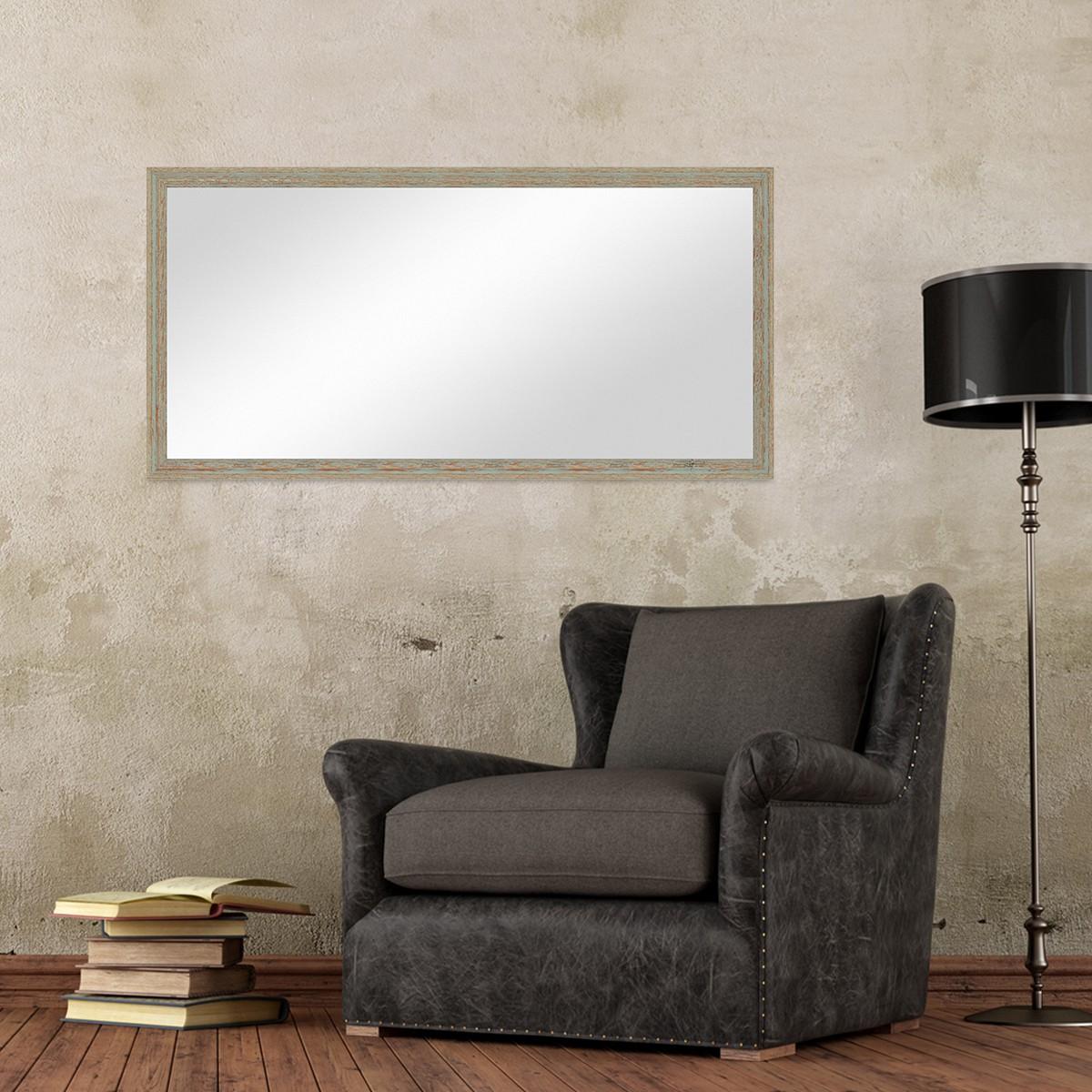 Wand-Spiegel 56x106 Cm Im Holzrahmen Grau-Grün Shabby-Chic