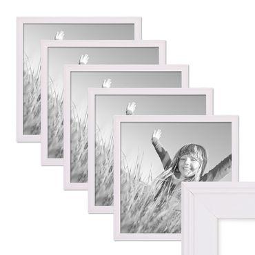 5er Set Landhaus-Bilderrahmen 30x30 cm Weiss Massivholz mit Glasscheibe und Zubehör / Fotorahmen