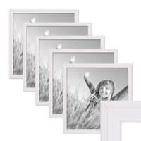 5er Set Landhaus-Bilderrahmen 30x30 cm Weiss Massivholz mit Glasscheibe und Zubehör / Fotorahmen  – Bild 1