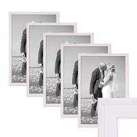 5er Set Landhaus-Bilderrahmen 30x45 cm Weiss Massivholz mit Glasscheibe und Zubehör / Fotorahmen  – Bild 1