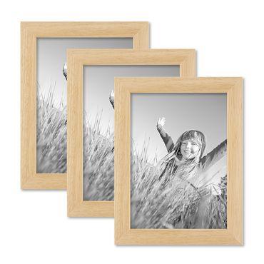 3er Set Bilderrahmen 13x18 cm Kiefer Natur Modern Massivholz-Rahmen mit Glasscheibe und Zubehör / Fotorahmen