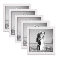5er Set Landhaus-Bilderrahmen 20x20 cm Weiss