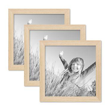 3er Set Bilderrahmen 20x20 cm Kiefer Natur Modern Massivholz-Rahmen mit Glasscheibe und Zubehör / Fotorahmen