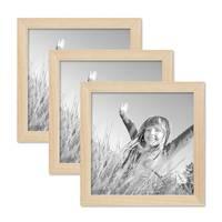 3er Set Bilderrahmen 20x20 cm Kiefer Natur Modern Massivholz-Rahmen mit Glasscheibe und Zubehör / Fotorahmen  – Bild 1