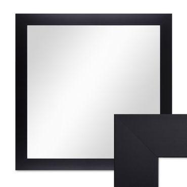 Wand-Spiegel 58x58 cm Schlicht Modern Schwarz Quadratisch / Spiegelfläche 50x50 cm