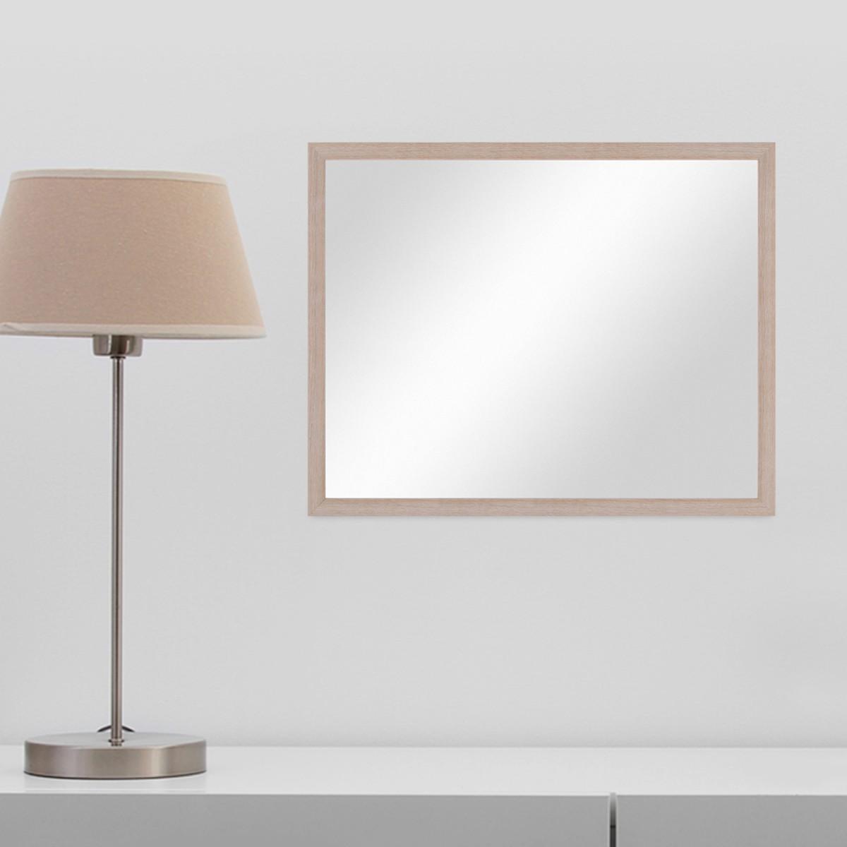 wand spiegel 43x53 cm im holzrahmen sonoma eiche hell modern spiegelfl che 40x50 cm spiegel. Black Bedroom Furniture Sets. Home Design Ideas