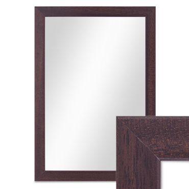 Wand-Spiegel 23x33 cm im Holzrahmen Nuss-Optik Dunkelbraun Modern / Spiegelfläche 20x30 cm