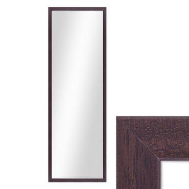 Wand-Spiegel 33x93 cm im Holzrahmen Nuss-Optik Dunkelbraun Modern / Spiegelfläche 30x90 cm