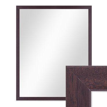 Wand-Spiegel 43x53 cm im Holzrahmen Nuss-Optik Dunkelbraun Modern / Spiegelfläche 40x50 cm