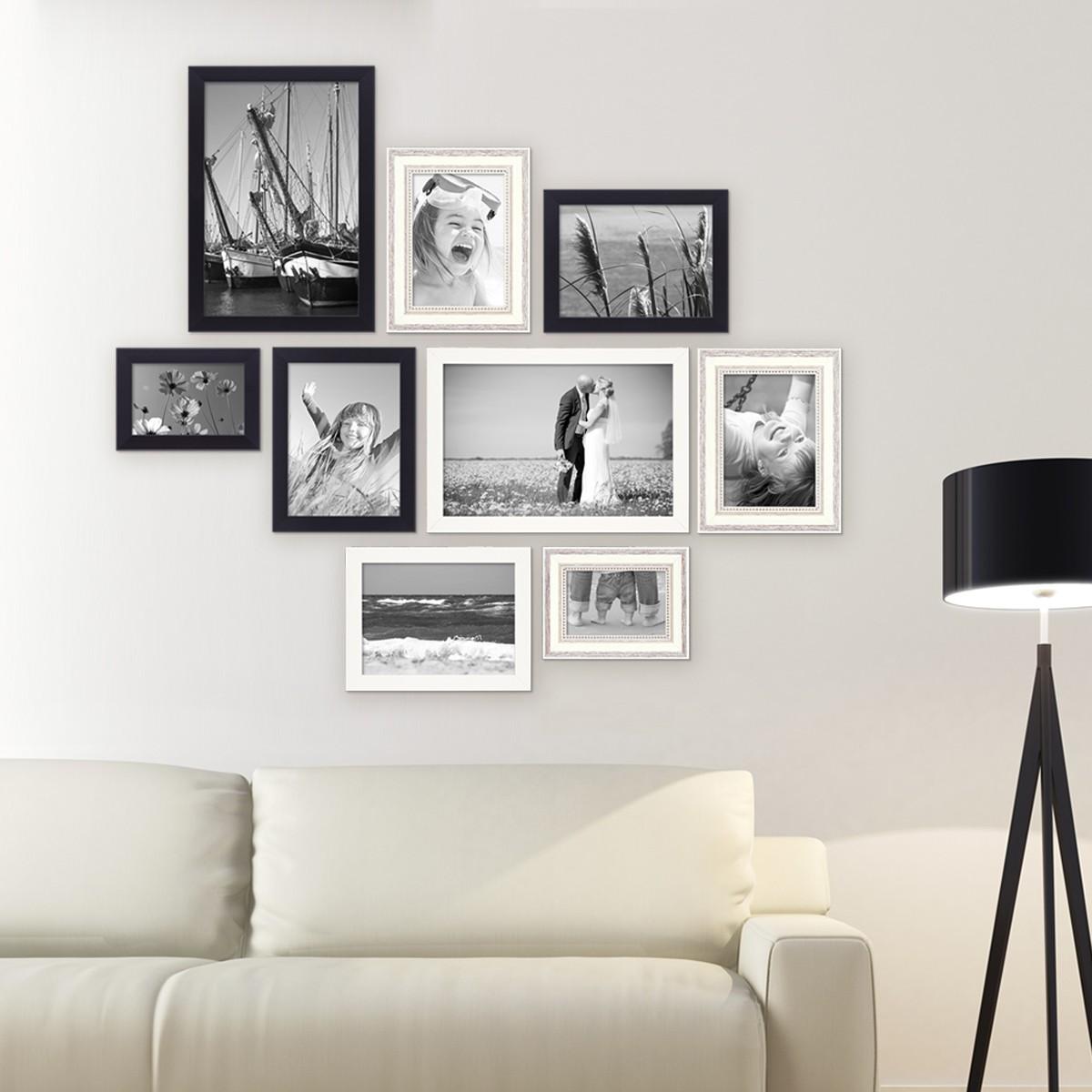 9er set bilderrahmen f r grosse bilderwand modern shabby chic 10x15 bis 20x30 cm inklusive. Black Bedroom Furniture Sets. Home Design Ideas