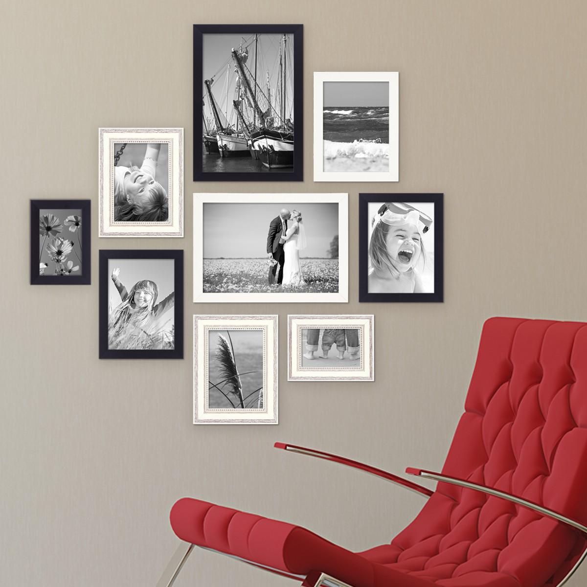 9er Set Bilderrahmen für grosse Bilderwand Modern Shabby-Chic 10x15 ...