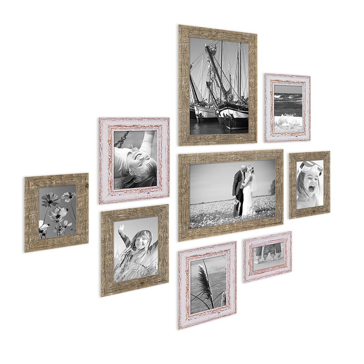9er set bilderrahmen f r grosse bilderwand strandhaus vintage shabby chic 10x15 bis 20x30 cm. Black Bedroom Furniture Sets. Home Design Ideas