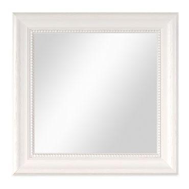 Wand-Spiegel 26x26 cm im Holzrahmen Landhaus-Stil Weiss Quadratisch / Spiegelfläche 20x20 cm