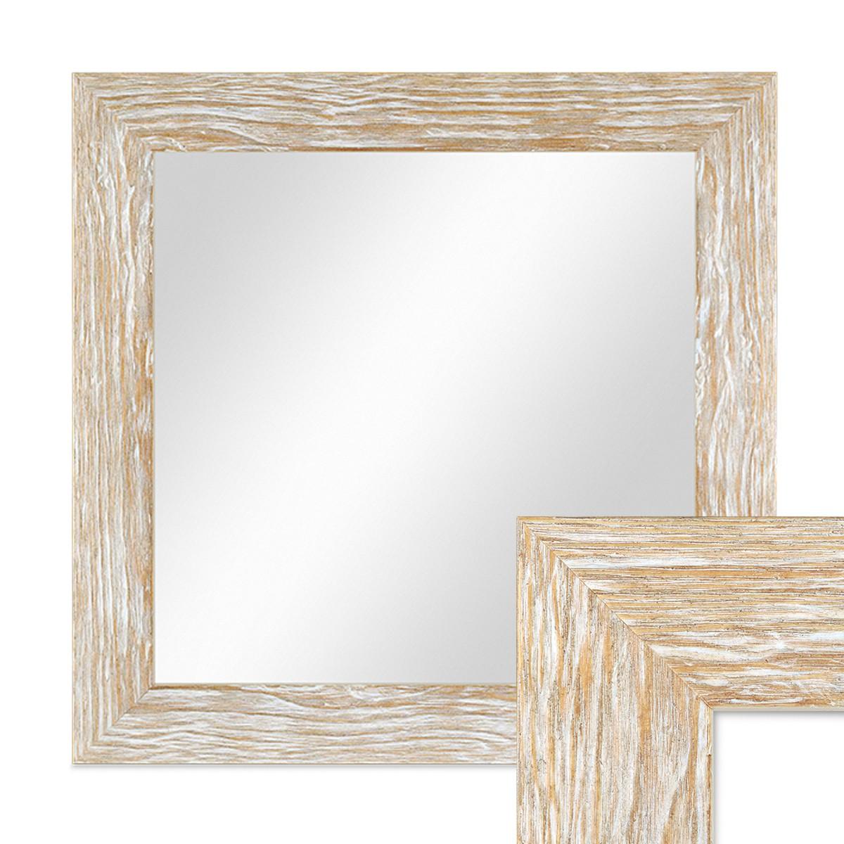 Wand spiegel 38x38 cm im holzrahmen sonoma eiche optik for Spiegel 30x30
