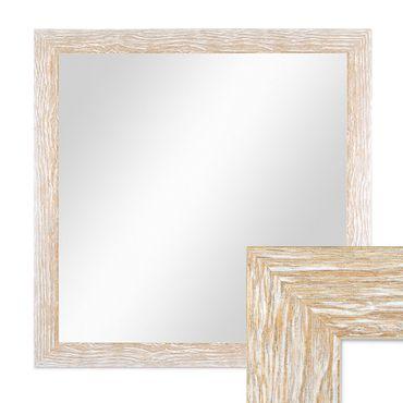 Wand-Spiegel 58x58 cm im Holzrahmen Sonoma Eiche-Optik Hell Gekalkt Modern Quadratisch / Spiegelfläche 50x50 cm