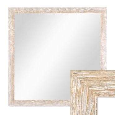 Wand-Spiegel 68x68 cm im Holzrahmen Sonoma Eiche-Optik Hell Gekalkt Modern Quadratisch / Spiegelfläche 60x60 cm