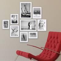 9er Bilderrahmen-Set Modern Weiss