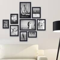 9er Set Bilderrahmen Schwarz Modern aus MDF mit Glasscheibe und Zubehör  / 10x15, 13x18, 15x20 und 20x30 cm / Fotorahmen
