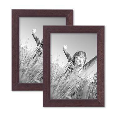 2er Set Bilderrahmen 13x18 cm Nuss Modern Massivholz-Rahmen mit Glasscheibe und Zubehör / Fotorahmen