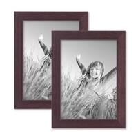 2er Set Bilderrahmen 13x18 cm Nuss Modern Massivholz-Rahmen mit Glasscheibe und Zubehör / Fotorahmen  – Bild 1