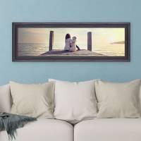 Panorama-Bilderrahmen 30x90 cm Shabby-Chic Landhaus-Stil Dunkelbraun Massivholz breite Leiste m. Acrylglas inkl. Zubehör / Fotorahmen  – Bild 5