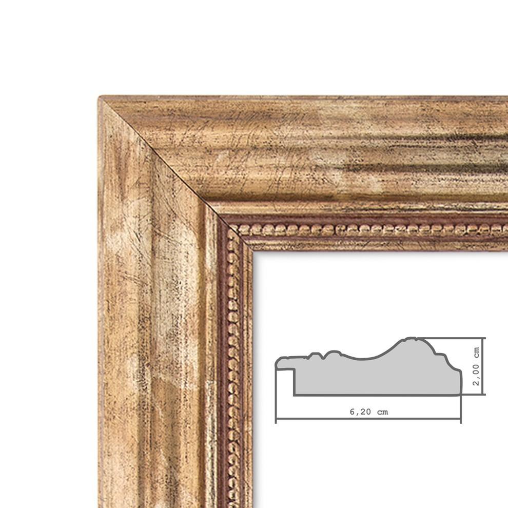 Panorama-Bilderrahmen 30x60 cm Gold Barock Breit Massivholz mit ...