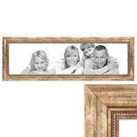 Panorama-Bilderrahmen 30x90 cm Gold Barock Breit Massivholzmit Acrylglasscheibe und Zubehör / Fotorahmen / Barock-Rahmen   – Bild 1