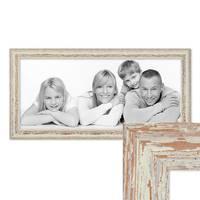 Panorama-Bilderrahmen 30x60 cm Weiss Shabby-Chic Vintage Massivholz mit Glasscheibe und Zubehör / Fotorahmen / Nostalgierahmen