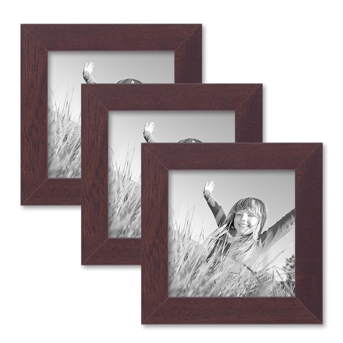 3er set bilderrahmen 10x10 cm nuss modern massivholz rahmen mit glasscheibe und zubeh r. Black Bedroom Furniture Sets. Home Design Ideas