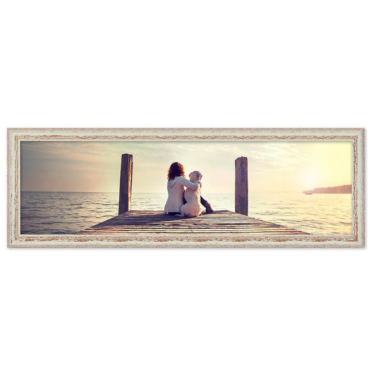 Panorama-Bilderrahmen Vintage 30x90 cm Weiss Shabby-Chic Massivholz ...
