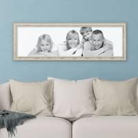 Panorama-Bilderrahmen Vintage 30x90 cm Weiss Shabby-Chic Massivholz m. Acrylglas inkl. Zubehör / Fotorahmen / Nostalgierahmen  – Bild 2