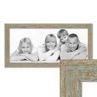 Panorama-Bilderrahmen 30x60 cm Grau-Grün Shabby-Chic Vintage Massivholz mit Glasscheibe und Zubehör / Fotorahmen / Nostalgierahmen