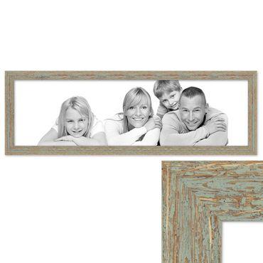 Panorama-Bilderrahmen Vintage 30x90 cm Grau-Grün Shabby-Chic Massivholz m. Acrylglas inkl. Zubehör / Fotorahmen / Nostalgierahmen