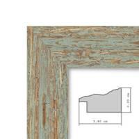 Panorama-Bilderrahmen Vintage 30x90 cm Grau-Grün Shabby-Chic Massivholz m. Acrylglas inkl. Zubehör / Fotorahmen / Nostalgierahmen  – Bild 3