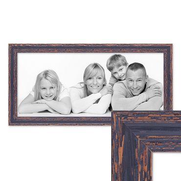 Panorama-Bilderrahmen Vintage 30x60 cm Holz Dunkelbraun Shabby-Chic Massivholz mit Glasscheibe und Zubehör / Fotorahmen / Nostalgierahmen