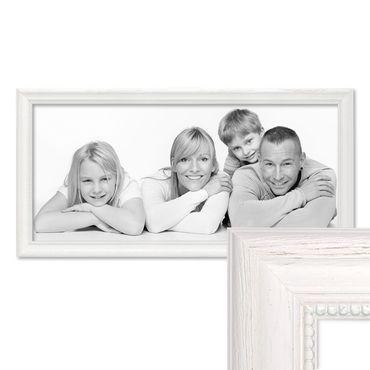 Panorama-Bilderrahmen Landhaus-Stil Weiss 30x60 cm Massivholz mit Glasscheibe und Zubehör / Fotorahmen